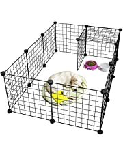 Rness Pet Playpen, Portable Pet Playpen Metal for Small Animals, pet playpen panels,Guinea Pigs, Rabbits,Dog Cage,Cat Cage, Dog Fence,Black, 12 panels