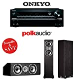 Onkyo TX-NR747 7.2-Channel Networking A/V Receiver + (1) Pair of Polk Audio TSi 300 Dual 5.25-Inch Floorstanding Loudspeakers + (1) Polk Audio CS10 Center Channel Loudspeaker - Bundle
