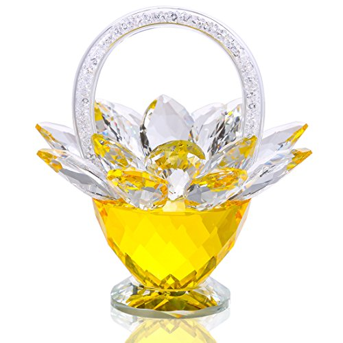 Basket Easter Flowers - H&D Crystal Flower Basket - Crystal Collectible Figurines Ornaments for Home Decor Table Centerpiece