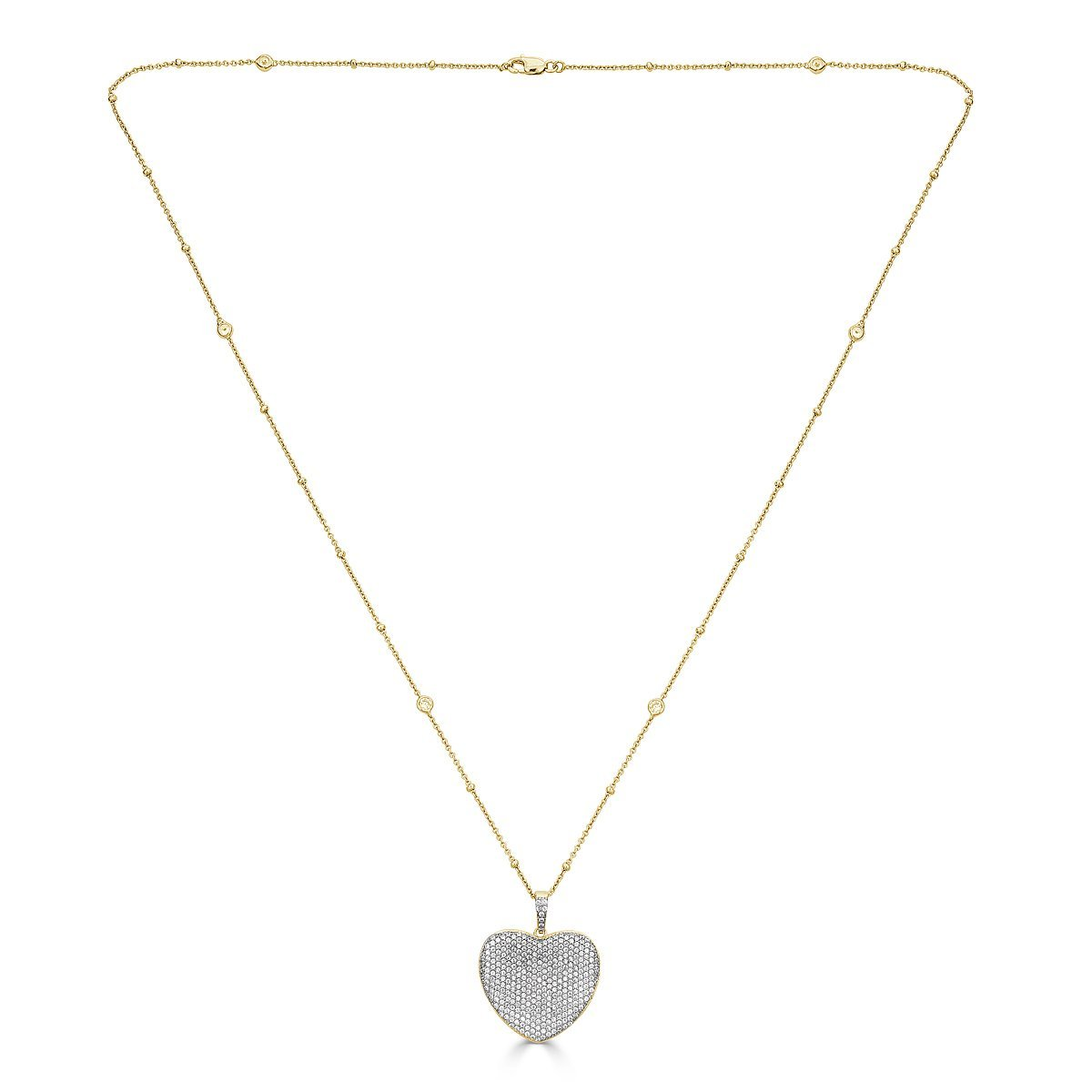 Gold Plated Sterling Silver Cubic Zirconia Pave Heart Necklace