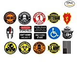 17 sticker SET - VALUE PACK - hard hat, tool box stickers Union gift for working men. Great for construction, lunchbox helmet mechanic and more - funny motorcycle biker car - Made and shipped in USA