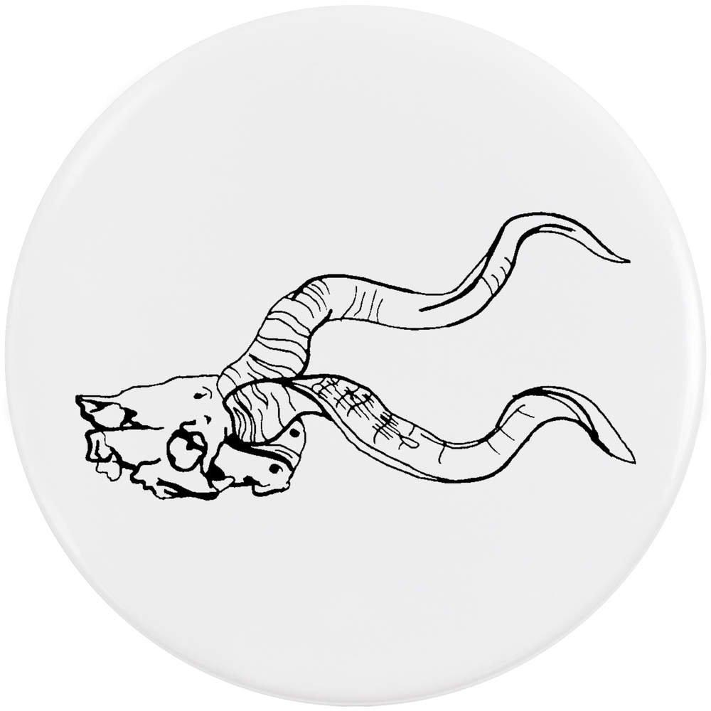 58mm 'Crâne Animal aux Cornes' Bouton de Badge (BB00018386)