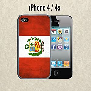 iPhone Case Flag Of Peru for iPhone 4 / 4s Plastic Black (Ships from CA)