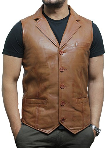 Brandslock Mens Vintage Smart Leather Waistcoat Designer Fit (2XL, Tan) (Tan Vintage Goat)