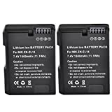 Abaige Power Replacement Battery (2-Pack) for Nikon EN-EL14 EN-EL14a, Nikon Coolpix P7000 P7100 P7700 P7800, D3100 D3200 D3300 D5100 D5200 D5300