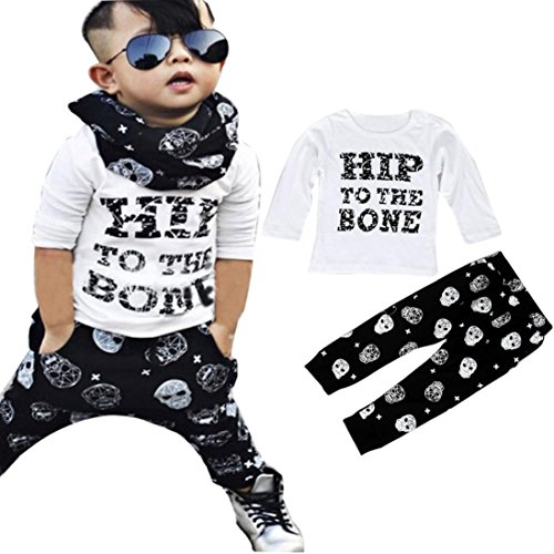 2017 New 1Set Infant Toddler Baby Boys Long Sleeve T-shirt Tops+Pants Outfits Clothes (24M, White) (Funny Halloween Outfits)