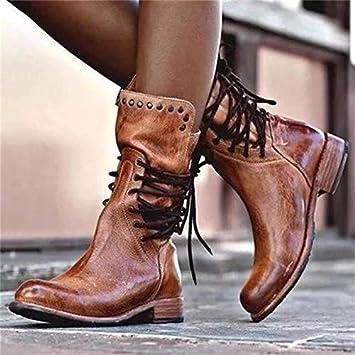 Acreny Mujer por la Rodilla de Piel Botas de Invierno Botas Media Caña Motos Retro Botines Oficina Fiesta Casual Poliuretano Zapatos de Tacón Bajo - Café, 38
