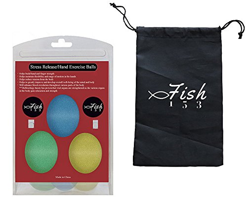 (FISH 153 Arthritis Pain Management Stress Relief Ball Hand Exercise Squeeze Egg Finger and Grip Strengthening Physical Therapy Rehab - Set of 3 Squishy Resistance (Soft, Medium, Firm))