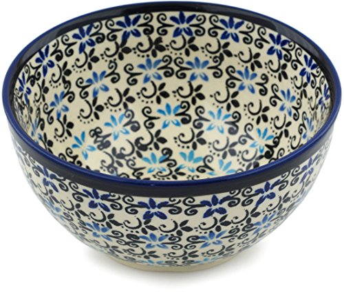 (Polish Pottery Bowl 5-inch Black And Blue Lace)