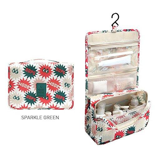 トラベルポーチ 洗面用具入れ 化粧ポーチ バスルームポーチ マジックテープ フック付き 収納バッグ(SPARKLE GREEN)