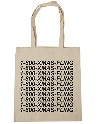 HippoWarehouse Fling de Navidad bolsa de la compra bolsa de playa 42cm x38cm, 10litros Natural