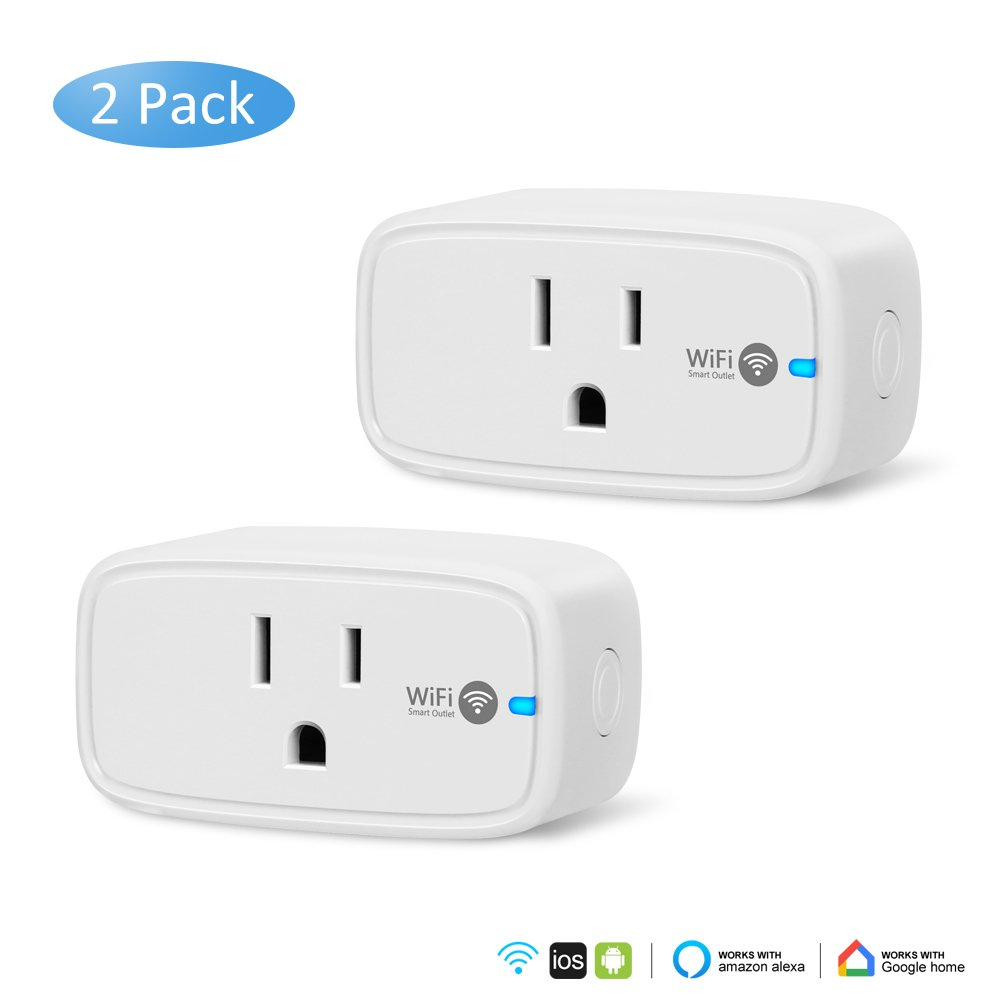 WiFi Smart Plug, AXHKIO [2 Pack] Wi-Fi Smart Plug Mini Outlet, Timing Function Smart Socket, Works with Alexa and Google Assistant, No Hub Required, Remote Control your Devices from Anywhere. [White]