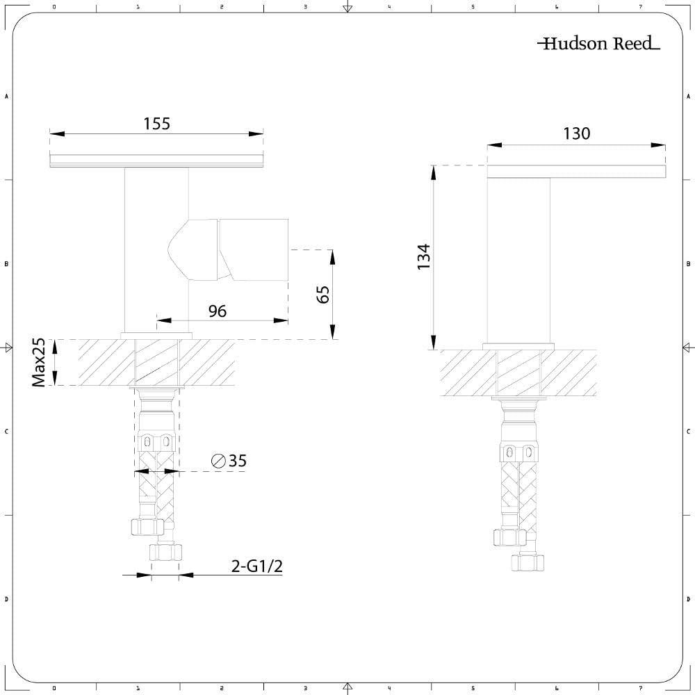 Hudson Reed Mitigeur Robinet Lavabo Cascade Monotrou Laiton Massif Chrom/é Design /& Ergonomique pour Salle De Bains