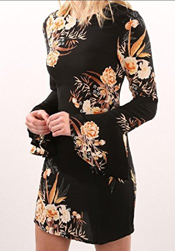 Dress Fitted Style Print Slim Picture Comfy Mini Waist Folk Women's Flare As Sleeve EqfInwH6vW
