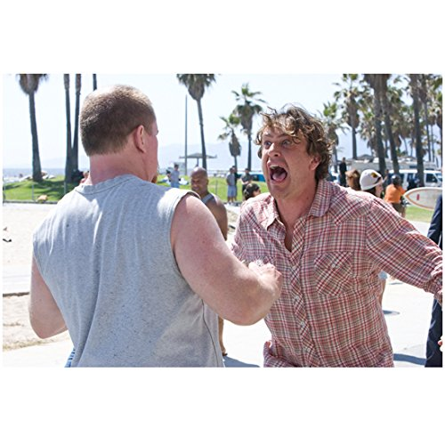 I Love You, Man 8 Inch x10 Inch Photo Jason Segel Plaid Shirt Yelling at Man in Sleeveless Grey Tee kn