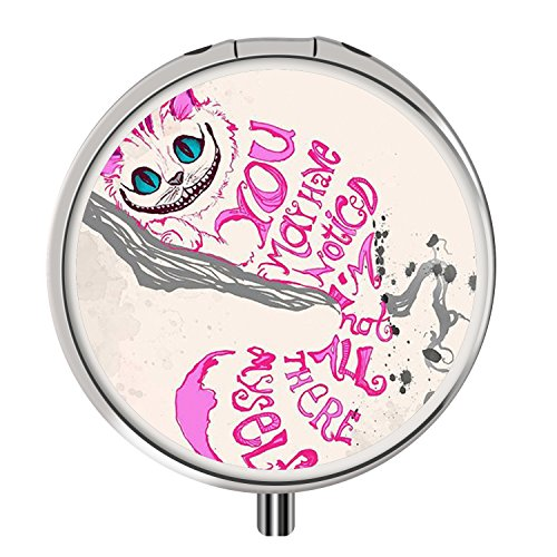 Pill Box, Round Stainless Drug Case with Three Compartment, Custom Medical Kit Storage for Travel Purse Pocket - Pink Cheshire Cat