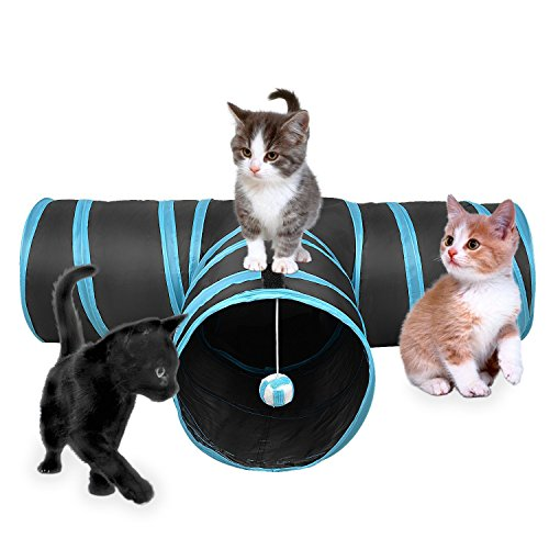 IUME Pet Doors Cat Tunnel Toy Training Extensible Collapsible Crackle Paper Tube Three Connected Run Road Way Catnip House with Fun Ball Puzzle Exercising and Playing for Kitten Rabbits and Puppy