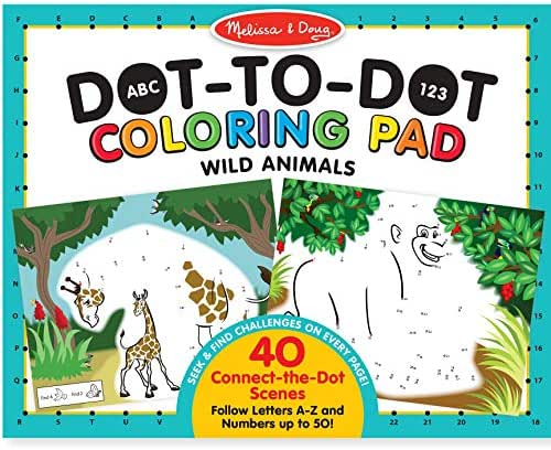 Melissa & Doug ABC 123 Wild Animals Dot-to-Dot Coloring Pad (Great Gift for Girls and Boys - Best for 3, 4, 5, 6, 7 Year Olds and Up)