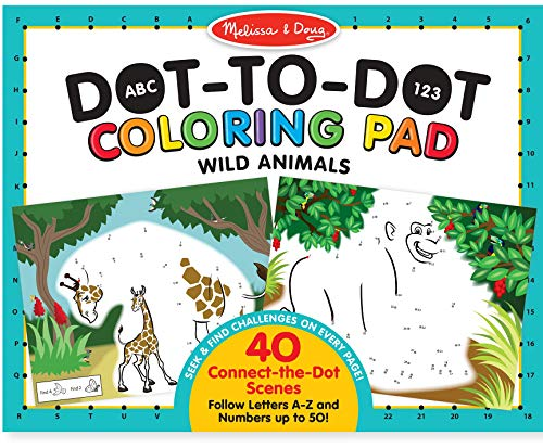 Melissa & Doug ABC 123 Wild Animals Dot-to-Dot Coloring Pad -