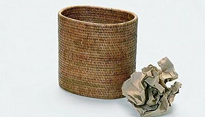 "Artifacts Trading Company Rattan Oval Waste Basket, 11"" L X 8"" W X 11"" H"