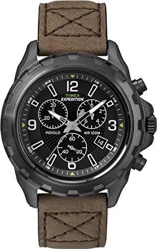 Timex Expedition T49986 – Reloj de cuarzo para hombre, correa de cuero color marrón