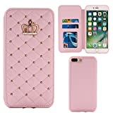 quilted diamond iphone case - Apple iPhone 7 Bling Leather Case, Miniko(TM) Cute Crown Bling Luxury Sparkle Bling Diamond Pattern Folio Leather Flip Stand Quilted Smart Case for Apple iPhone 7 -Pink