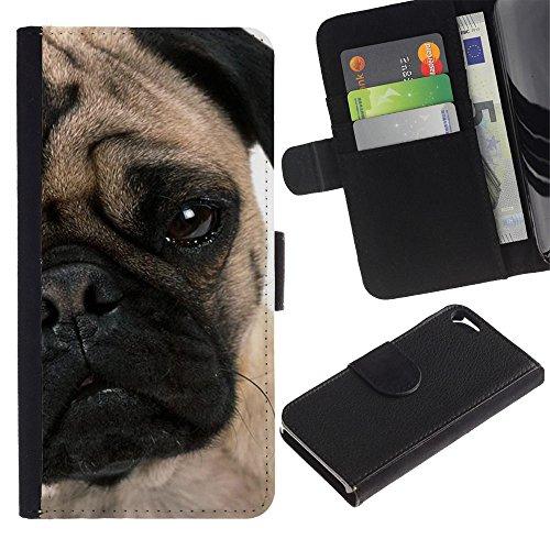 EuroCase - Apple Iphone 5 / 5S - pug face puppy wrinkled eye muzzle dog - Cuero PU Delgado caso cubierta Shell Armor Funda Case Cover