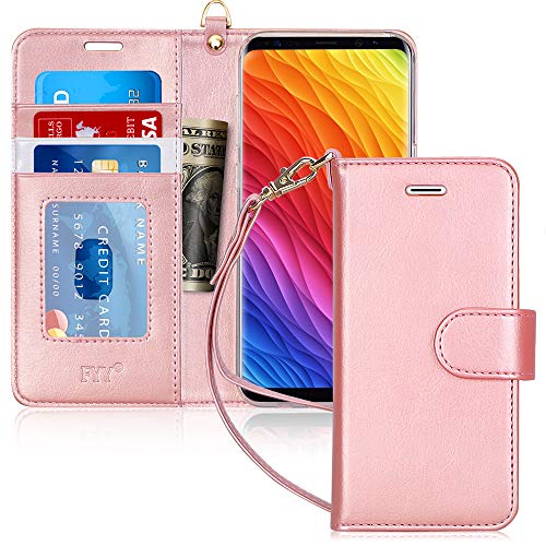 Galaxy S8 Case, Samsung Galaxy S8 Case, FYY[RFID Blocking Wallet Case] 100% Handmade Flip Folio Case [Kickstand Feature] with ID&Credit Card Protector for Samsung Galaxy S8(NOT for S8 Plus) Rose Gold (Lord Of The Rings Wallet Phone Case)