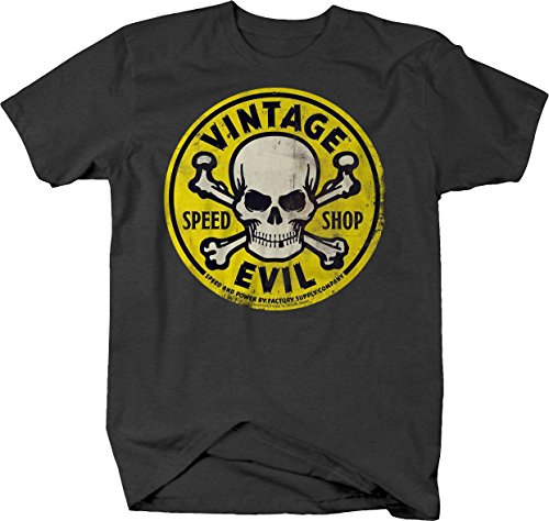 Yellow T-shirt Bold - Bold Imprints Vintage Evil Speed Shop Skull Crossbones Yellow Racing Hotrod Tshirt - 2XL