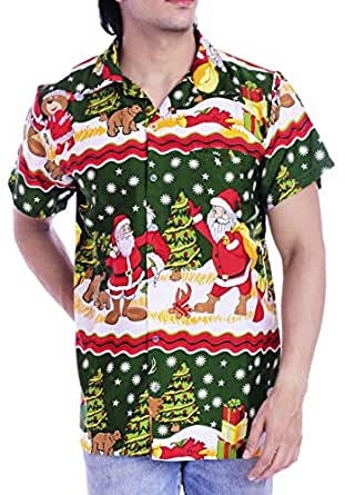 Virgin Crafts Ugly Christmas Hawaiian Shirts for Men Casual Beach Party Xmas Bear Green XXL