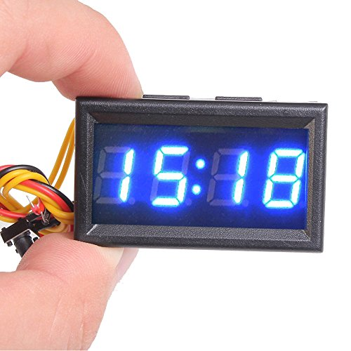 Icstation Mini Digital Electronic Clock Timer with Calendar Panel Meter for Car Motorcycle Blue LED Display 24 Hours (Small Digital Clock With Seconds)