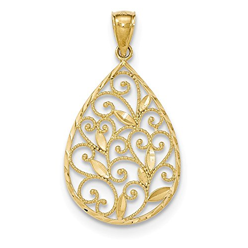 14K Yellow Gold Gold Polished and Textured Filigree Teardrop Pendant