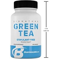 Bodybuilding Signature Green Tea Extract Capsules | EGCG Fat Fighting Supplement | Antioxidant Booster | Gluten Free 100 Pills