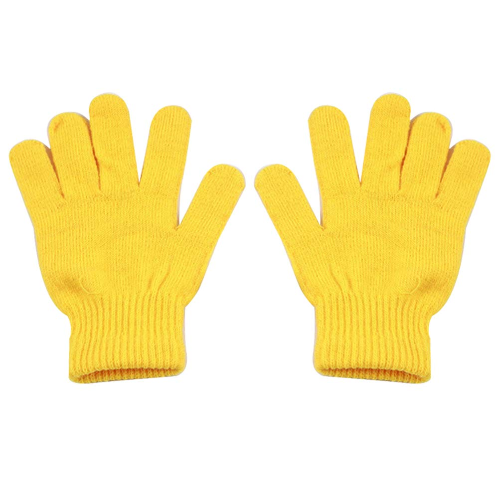Fashion Solid Color Women Men Winter Soft Warm Magic Full Finger Gloves Gift - Yellow