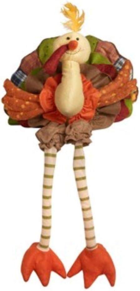 "Plush Sitting Turkey with Dangling Legs Centerpiece Sitter 12"""