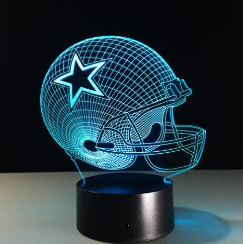 Touch Plate Lighting Control - Football Helmet Lamp - Touch Control Football Helmet Lamp- Color Changing 3D Lamp - Night Lamp for Boys and Men - Perfect Gift for NFL Sports Lovers (Dallas Cowboys)