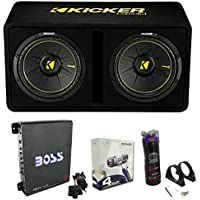 Kicker 44DCWC122 12 1200W Car Subwoofers Sub Enclosure + Amp + Capacitor + Wire