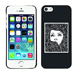 Shell-Star Arte & diseño plástico duro Fundas Cover Cubre Hard Case Cover para Apple iPhone 5 / iPhone 5S ( Girl Woman Poster Drawing Frame )
