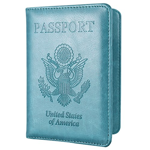 Passport Holder Travel Wallet - HOTCOOL Leather RFID Blocking Cover Case For Passport, Mint Green