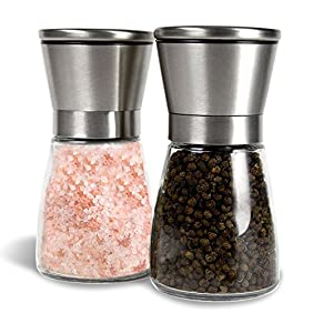 Premium Stainless Steel Salt and Pepper Grinder (Set of 2) - 6 Oz Glass Base Pepper Mill and Salt Mill - Adjustable Coarseness Grind Setting Salt and Pepper Shakers by Bloomingoods