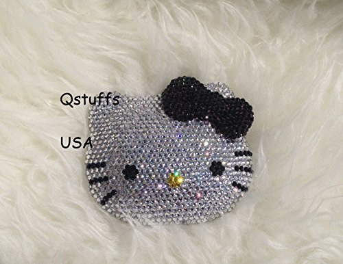 (Bling Bling hello kitty compact mirror handmade with high quality crystals ^Black)