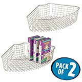 wedge pasta basket - mDesign Lazy Susan Wire Storage Basket with Handle for Kitchen Cabinets, Pantry - Pack of 2, 1/4 Wedge, Satin