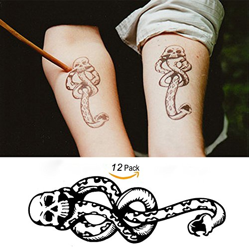Leoars 12 Sheets Temporary Tattoos Men Women Boys Death Eaters Dark Mark Harry Potter Mamba Skull Temporary Tattoo Sticker Body Art Fake Tattoos Buy Online In Greenland At Desertcart Productid 64971363