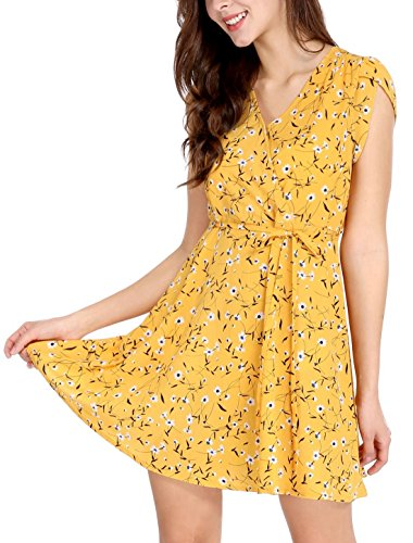- Allegra K Women's Boho Crossover V Neck Petal Sleeves Belted Floral Flowy Dress Yellow S (US 6)