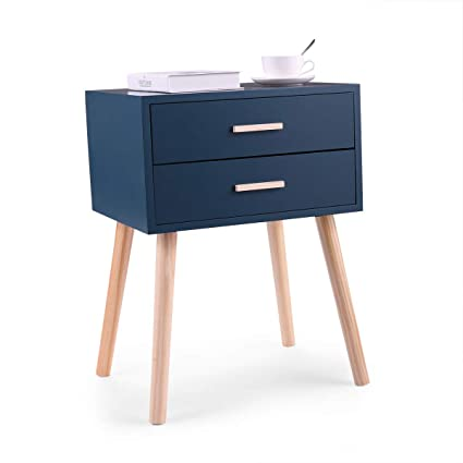 Charmant Amazon.com: LAZYMOON Lake Blue Nightstand Sofa End Table Bedroom Decor Bedside  Furniture With Two Drawers: Kitchen U0026 Dining