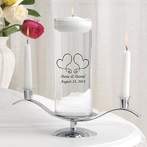Personalized Floating Wedding Unity Candle w/Stand- Two Hearts