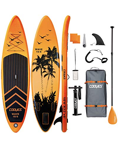 "Cooyes Inflatable Stand Up Paddle Board 10'6"" with Free Premium SUP Accessories & Backpack, Non-Slip Deck. Bonus Waterproof Bag, Leash, Paddle and Hand Pump"