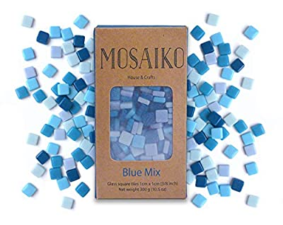 MOSAIKO Blue Mix 300g (10.5oz) - Mosaic Glass Tiles for Crafts - Premium Quality Stained Square Pieces 1cm x 1cm (3/8 inch) - Perfect for Home Decor, DIY Crafts, Pixel Art, Kid Play, Adult Hobbies
