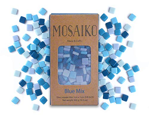 (MOSAIKO Blue Mix 300g (10.5oz) - Mosaic Glass Tiles for Crafts - Premium Quality Stained Square Pieces 1cm x 1cm (3/8 inch) - Perfect for Home Decor, DIY Crafts, Pixel Art, Kid Play, Adult Hobbies)