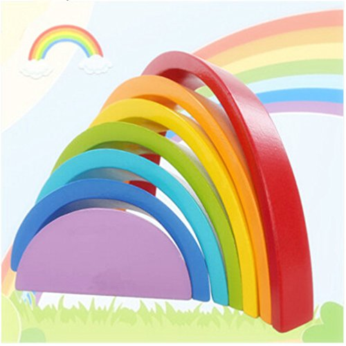Dolland Rainbow Stacker Puzzle Toy, Wooden Stacking Toy Arch Bridge Building Blocks Children's Early Education Toy by Dolland (Image #4)